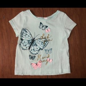 H&M Sz 18-24M Light Teal Butterflies 🦋 Tee Shirt